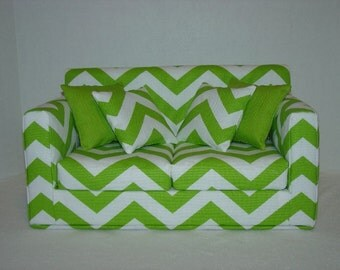 18 Inch  Doll  Couch - Chevron Doll Sofa - Green - Chartreuse  - White - Modern Handmade Doll Furniture