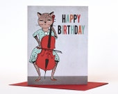 Happy Birthday Music and Cat themed Card - Cat plays Cello