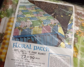 Vintage New in Package Twin/Full Brown, Yellow and Green Patchwork Blanket 100% Polyester