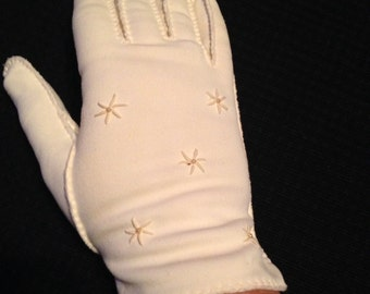 Pair of Vintage Ladies' Ivory Nylon Gloves with Stars and Pearls