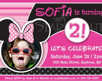 Personalized Minnie Mouse - Inspired Birthday Card - Printable PDF