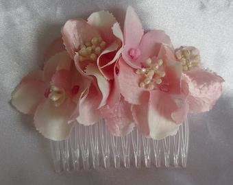 Bridal Hair Wedding Hair Flower Girl Pink Hydrangea Floral Hair Comb Fascinator