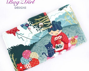 Handmade Long Wallet BiFold Clutch-Indochina-Geisha-Kitty-Fish-Royal-Blue-camo