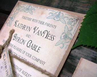 Wedding Invitations: The Bees Knees, blue wedding, vintage farden wedding invitations