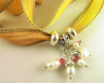 Silk Wrap Bracelet Jewel Pearl Dangle Cluster Sterling Silver Fleur De Lis CLEARANCE