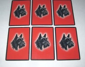 Vintage Playing Cards with Scottie or Scotty Dog and Red Background Set of 6