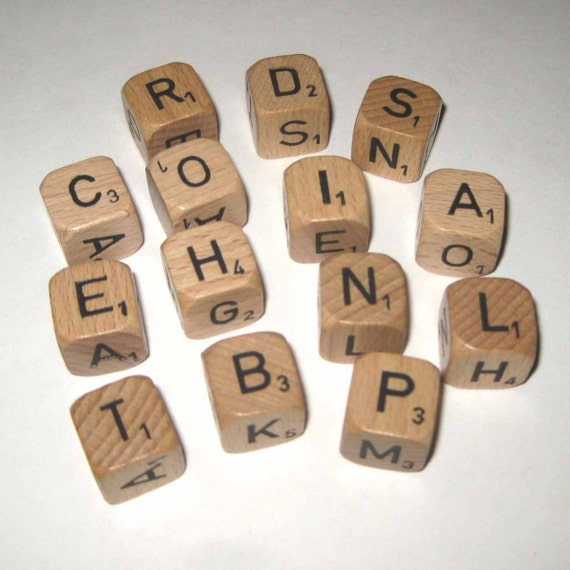Vintage 1970s Wooden Scrabble Crossword Square Cubes or Game