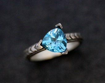 Swiss Blue Topaz Gemstone Chevron Ring in Sterling Silver, Triangle Pattern in Recycled Tarnish Resistant Silver