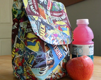 Insulated Lunch Bag Lunch Tote Comic Book Superheroes Made To Order
