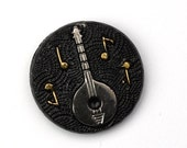 Vintage Glass Cabochon Music Mandolin 18mm - Black and Silver (1) VIC334