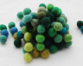 1cm / 10mm - 100% Wool Felt Balls - 100 Count - Assorted Green Color Shades
