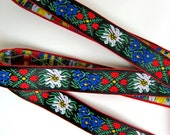 EDELWEISS & HEARTS narrow Jacquard trim, 3 yards, White Blue red green yellow on black. Red edges. 5/8 inch wide. 956(2)-A
