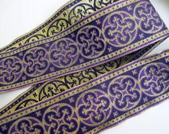 2 yards  BYZANTINE Jacquard trim in metallic antique gold on purple. 1 5/8 inch wide. 958-D