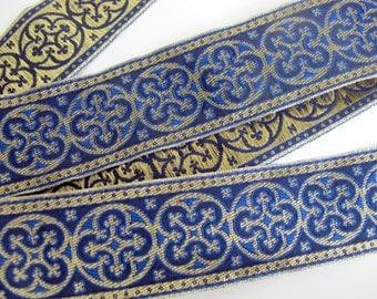 2 yards  BYZANTINE Jacquard trim in metallic antique gold on Royal blue. 1 5/8 inch wide. 958-J Brocade trim