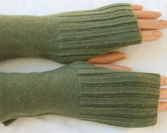 Olive Green Upcycled Cashmere Fingerless Gloves