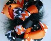 boutique FUNKY fun CLASSIC HALLOWEEN chevron hair bow clip