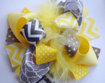 boutique MINI mod YELLOW and GRAY chevron hair bow clip
