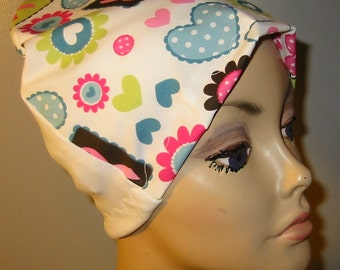 Breast Cancer Print  Lightweight  Hat -Chemo, Cancer, Alopecia, Sleep Cap, Summer Chemo Hat