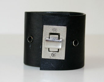 Recycled Black Leather Cuff Extra Wide Nickel Hardware Closure