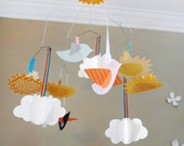Cloud mobile with birds and suns, baby mobile, CUSTOM