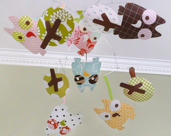 Owl mobile, modern baby mobile, nursery art, CUSTOM