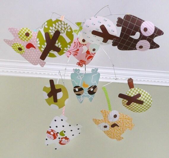 Owl mobile, modern baby mobile, nursery art, CUSTOM