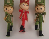 Vintage Little Drummer Boy Soldier Christmas Ornaments Kitschy Kitsch made in Japan
