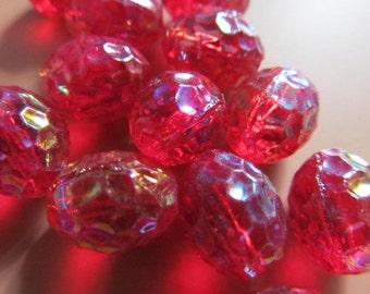Vintage Glass Beads (6) German Scarlet AB Beads