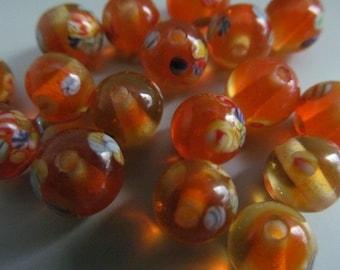 Vintage Glass Beadsd (10) Handmade Japanese Millefiori Tangerine Beads (8mm)
