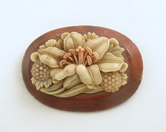 Vintage Flower Brooch Wood Lily Pin Costume Jewelry
