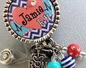 Personalized ID Badge Reel Silver Pendant - cardiac nurse RN, CHEVRON, heart rhythm, medical symbol, telemetry unit