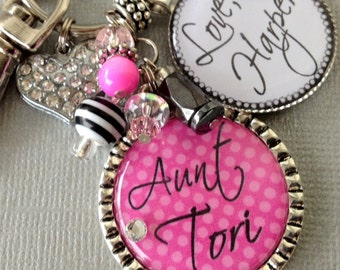 Personalized Aunt Gift, Personalized Children's Names- New aunt, godmother gift, birthday gift, rhinestone heart charm, polka dots