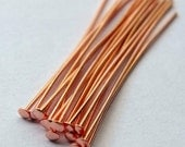 1.5 inch Head Pins Copper Plated, Shiny, 22 Gauge, Medium Gauge Wire, Pack of 100 **Clearance**