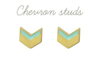 Mini Mint Chevron Earrings in Gold Vermeil // Geometric, Modern, Mint and Gold Studs