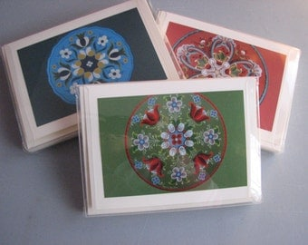 Boxed set of Rosemaled cards