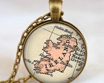 Ireland map necklace,Ireland map pendant, Ireland map jewelry , map pendant jewelry  with gift bag