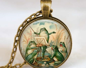 Frog necklace  Frog  Jewelry  frog pendant , frog orchestra necklace, vintage art necklace