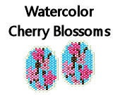 Brick Stitch Pattern Watercolor Cherry Blossoms Earrings Delica Seed Bead Pattern Floral Flowers
