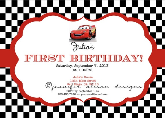 Disney Cars Party Printable Invitation / Birthday Party / Baby Shower, etc.
