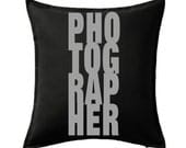 Photographer gift, large throw pillow, decorative pillow for couch, pillow cover, geekery