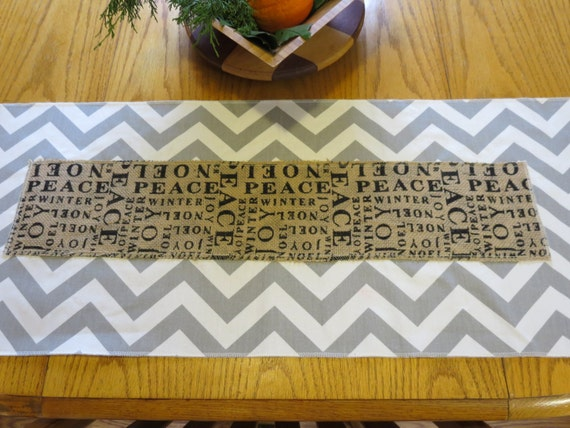 Christmas Table Runner in Chevron and Burlap Peace, Joy