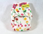 Final Clearance: XSm / Newborn fitted cloth diaper / nappy made with OBV features Springtime Flowers