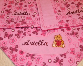 personalize receiving blanket and burp cloth