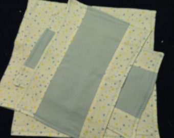 Blue and Yellow Star Receiving Blanket and Burp Cloth set