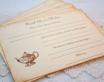 Tea Party Advice Cards Bridal Shower Wishes and Advice Vintage Teapot