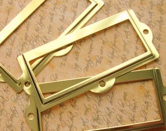 Set of 5 Bright Brass Finish Label Holders, Card Holders Metal Label Frames (LH0007)