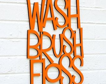 Wood Bathroom Sign, Wash Brush Floss Sign, Bathroom Quote Sign, Wood Wall Text Sign, Wood Text Home Decor, Wood Sayings Sign