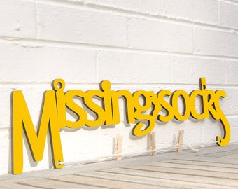 Missing Socks sign quote (clothes pin, laundry, organize)