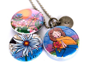 Mirror Locket Necklace - Yoga, Peace, Meditation, Silver Locket, Magnetic and Recycled, Floral, Artwork by Lori Portka, Metalwork Polarity