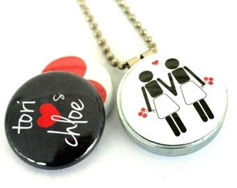 Lesbian Wedding Gift, Lesbian Jewelry, Lesbian Gift, Love, Gay Pride, Lesbian Couple, Magnetic Locket, Lesbian in Handmade, Polarity
